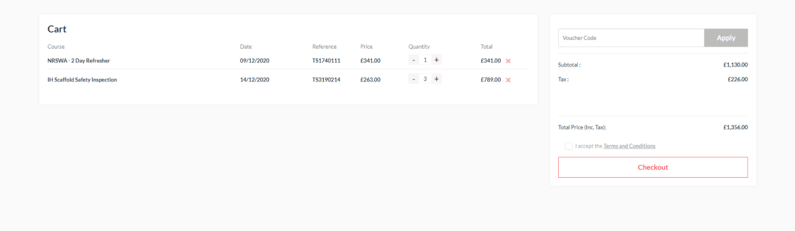 An example of customised shopping cart using Dante's course booking system