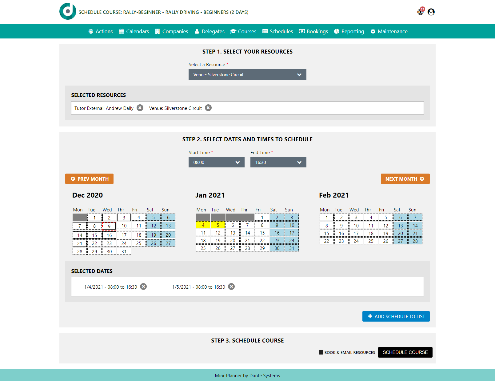 A screenshot of the course scheduler in Dante's training management system