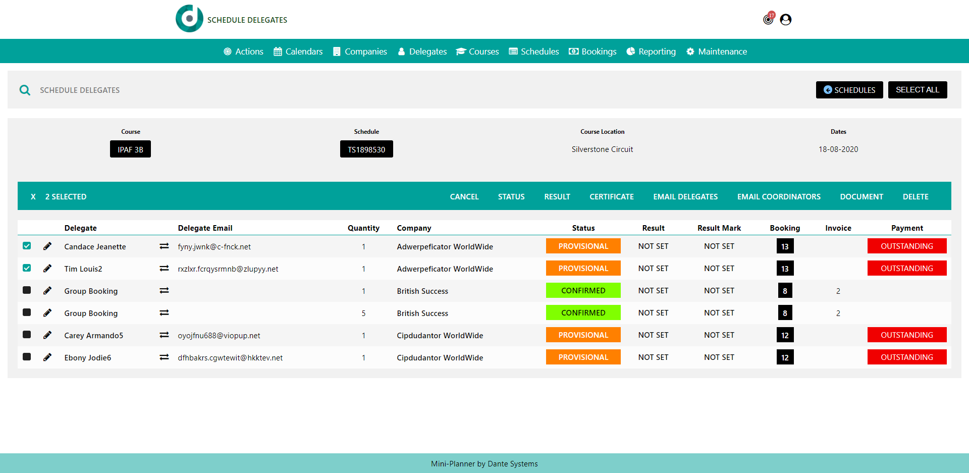 A screenshot of the delegate scheduler in Dante's training management system